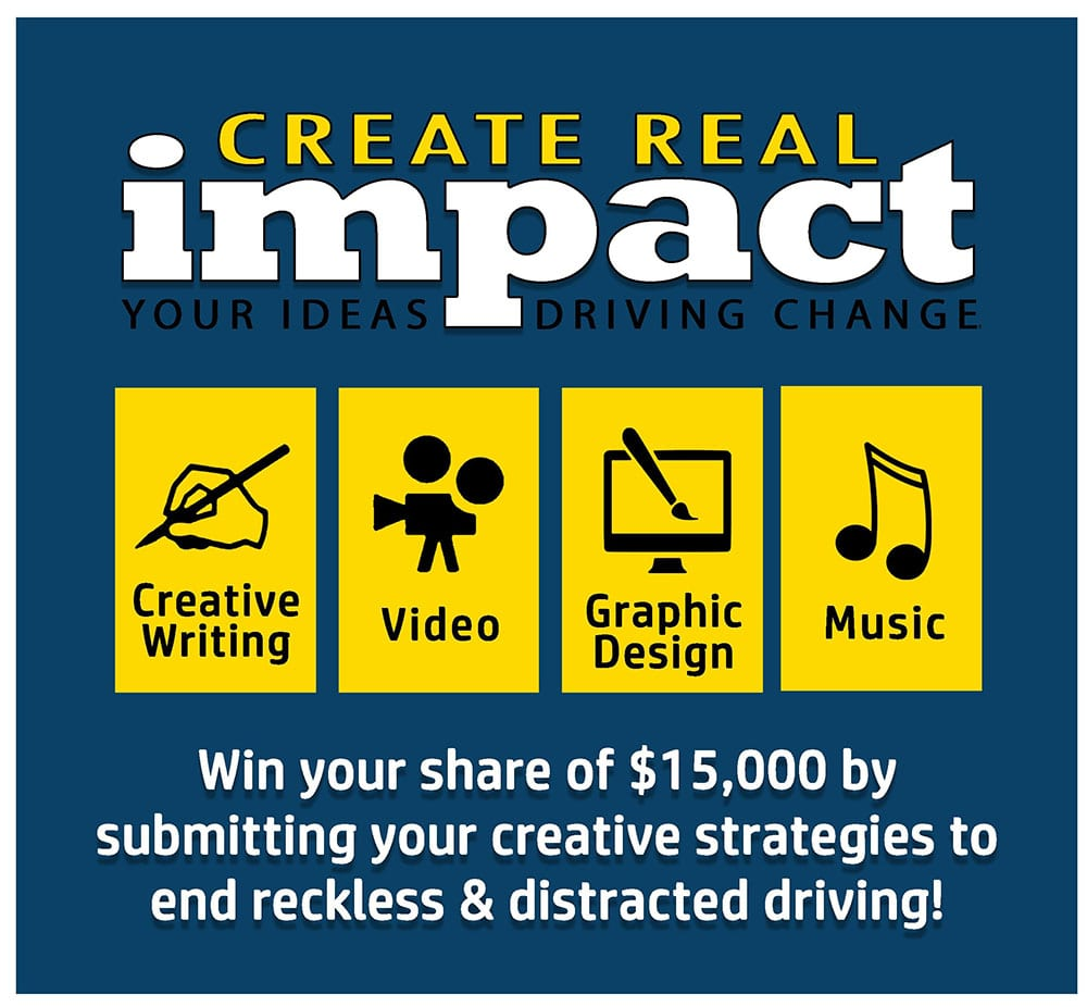 graphic about teen art contest about distracted driving
